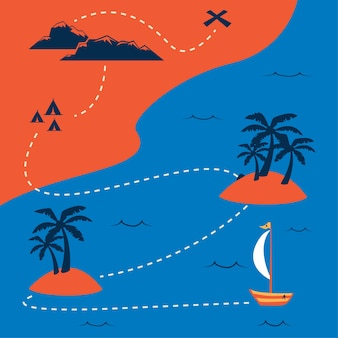 ユニークなヴィンテージの夏の色と平らな海賊の宝の地図