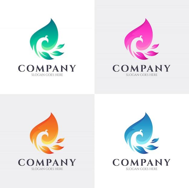カラフルな孔雀のロゴデザイン