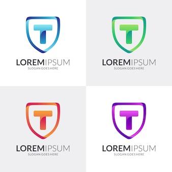 Щит и буква т дизайн логотипа