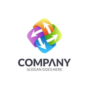 カラフルな矢印のロゴデザイン