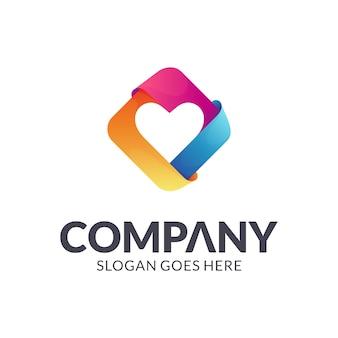 Красочная любовь / сердце логотип