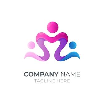 Шаблон логотипа по уходу за человеком / семьей