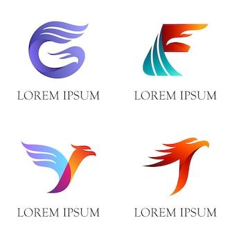 イニシャル/文字とワシのロゴデザインの組み合わせ