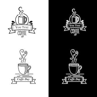 Рисованные логотипы элементов дизайна кофе