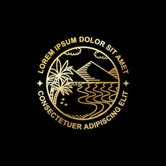 トロピカルアイランドゴールデンラインアートデザイン