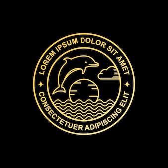 ラインアートイルカのロゴ