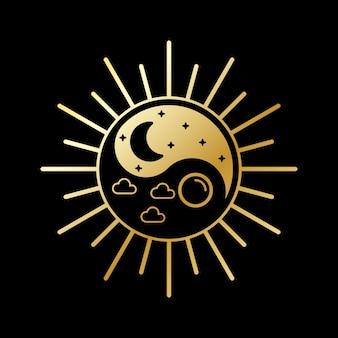 昼と夜のロゴデザイン
