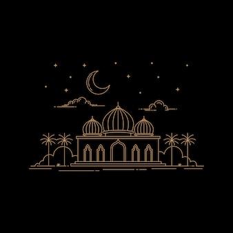 ラインアートスタイルのモスクデザイン