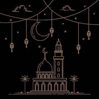モノラインスタイルデザインイスラムのお祝い
