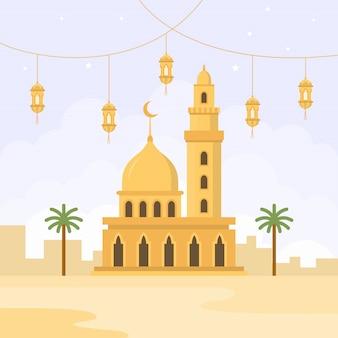 フラットスタイルのモスクデザイン