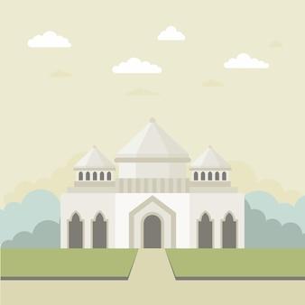 フラットなデザインのモスクのイラスト