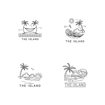 熱帯の島のロゴセット