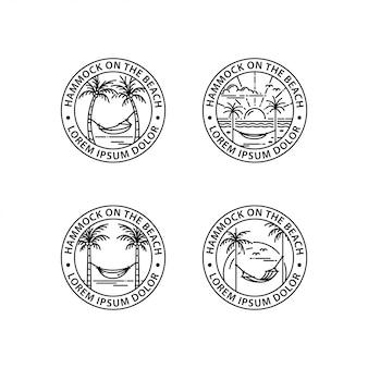 ハンモックのロゴのアウトラインスタイル