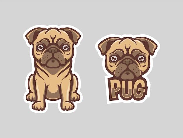 かわいいパグセットマスコットのロゴのテンプレート