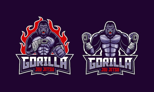 Злой горилла джиу джитсу логотип талисман