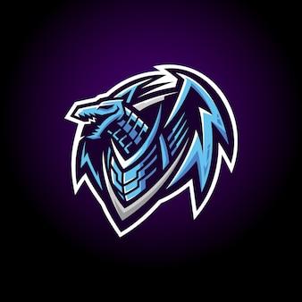 Стикер синий робот дракон