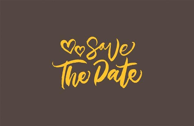 結婚式のための日付のブラシ書道を保存