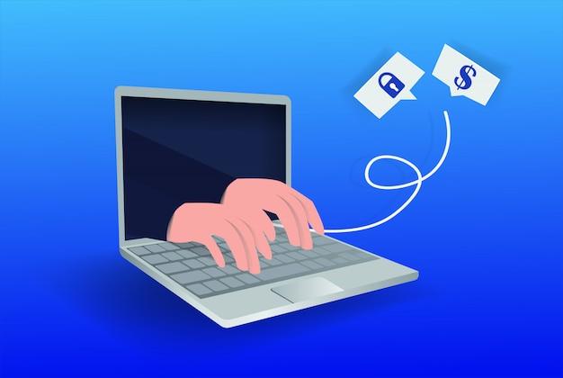 インターネットハッカーの攻撃と個人データのセキュリティの概念