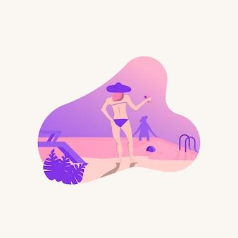夏のベクトル図でプールのそばに立っている女性