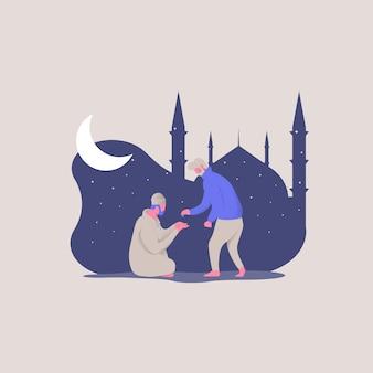Счастливого рамадана карима. молодые люди дают милостыню бедным родителям концепции иллюстрации