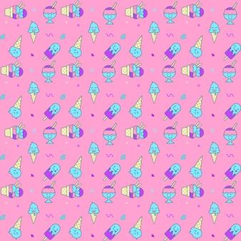 アイスクリームのシームレスパターン