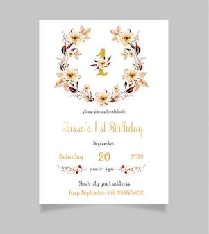 花の最初の誕生日の招待状