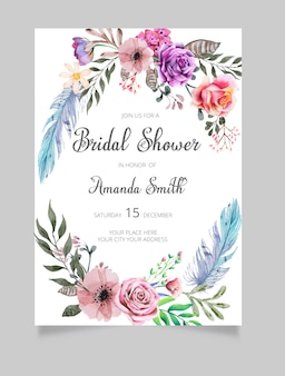 ブライダルシャワーの招待状、花の招待状、緑のブライダルシャワーの招待状