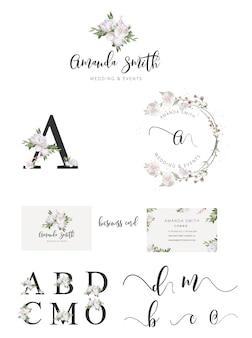 花の結婚式のロゴ、植物のロゴ、植物の花屋のロゴ、花屋の透かしのロゴ、花の葉