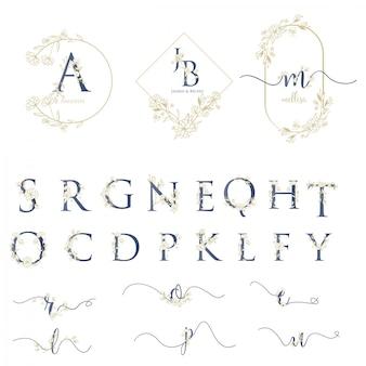 アルファベットでモダンな結婚式のロゴ