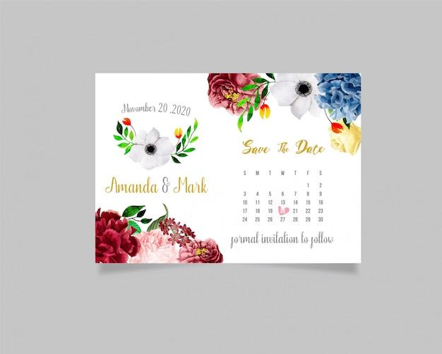 テキストと花の結婚式の招待カードテンプレート