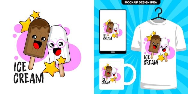 Милое мороженое карикатура иллюстрации и мерчендайзинг