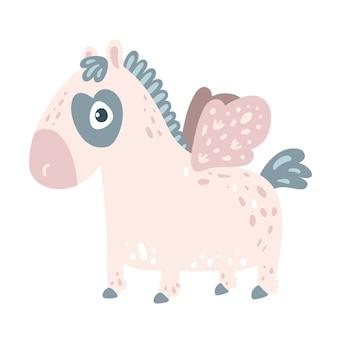 翼を持つ小さなピンクの馬のポニー
