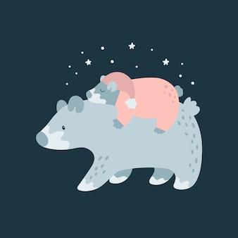 Милая семья медведей.