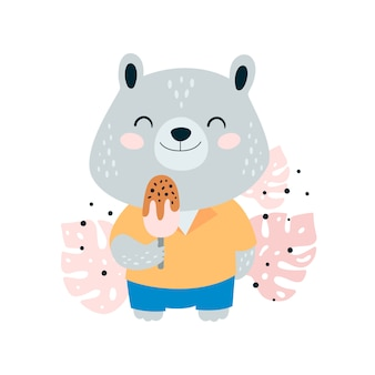 ジャングルの中でアイスクリームとかわいい小さなクマ