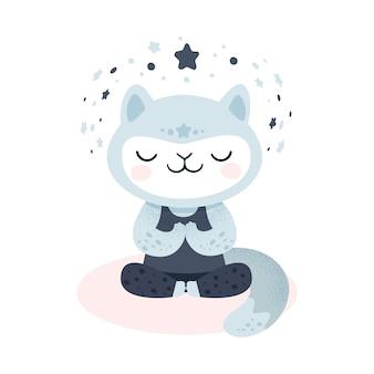 Милый котенок делает упражнение йоги