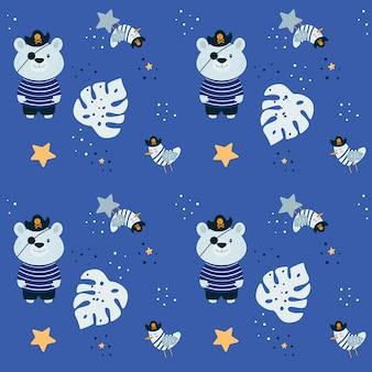 クマの海賊とのシームレスなパターン