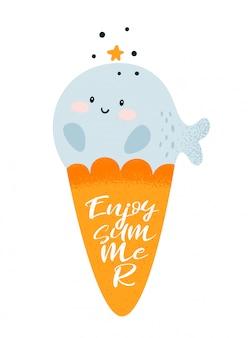 面白い小さな赤ちゃんクジラアイスクリーム