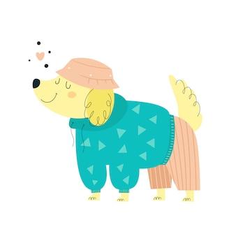 Милая маленькая собака в модной одежды. модный стиль щенка