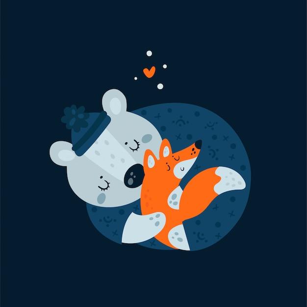 かわいい動物たちがキツネと眠ります。甘い夢は小さい方