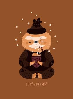 Уютная осень. милый ленивец с чашкой травяного чая