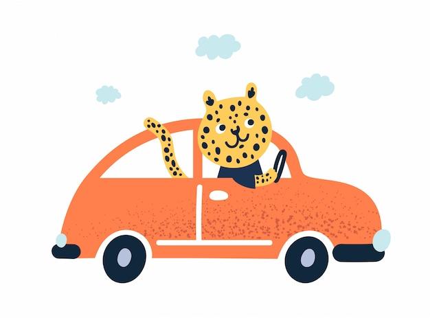 Леопардовое животное в плоском детском мультяшном скандинавском стиле