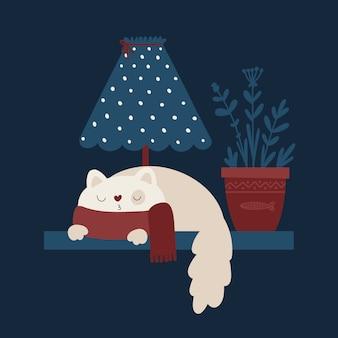Очаровательный котенок в мультяшном стиле