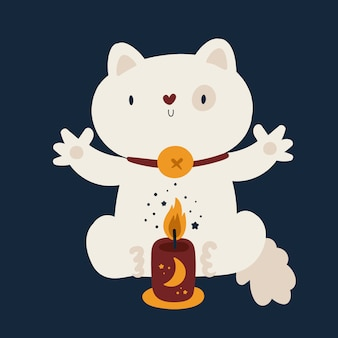 Милый кот домашнее животное плоский векторная иллюстрация