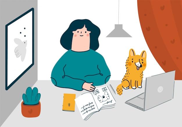 Девушка-фрилансер работает в домашнем офисе с домашним животным. оставайся дома иллюстрации