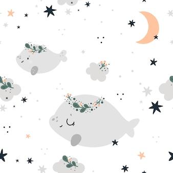 かわいいクジラ、星と月とのシームレスな幼稚なパターン。子供の背景