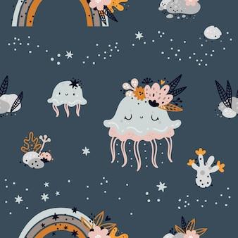 Безшовная ребяческая картина с милыми животными моря или медузы океана младенца. креативная детская текстура