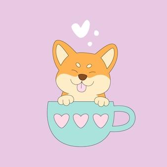 Япония собака шиба ину в чашке