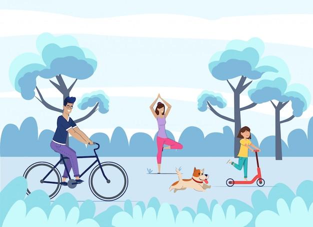 お父さんは自転車に乗って、娘はスクーターに乗って、お母さんはヨガを練習して、犬は走ります。夏休み。
