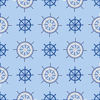 船のヘルムのシームレスなパターン海洋ボートホイール。ステアリングホイールの図のシルエットを持つベクトルヨットボートナビゲーション