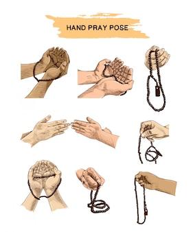 手祈りポーズセット